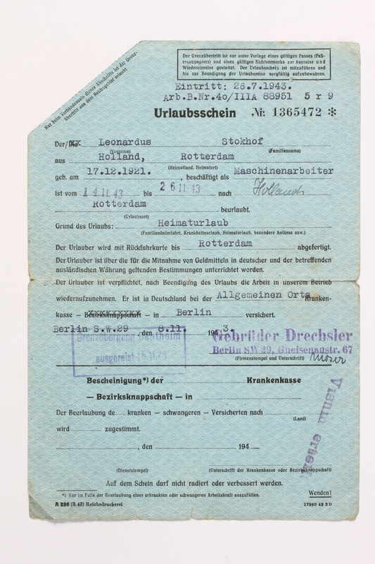 2010.441.70 front Blank sheet of paper for use by a Dutch resistance member to forge identity cards