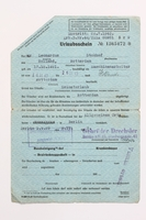 2010.441.70 front Blank sheet of paper for use by a Dutch resistance member to forge identity cards  Click to enlarge