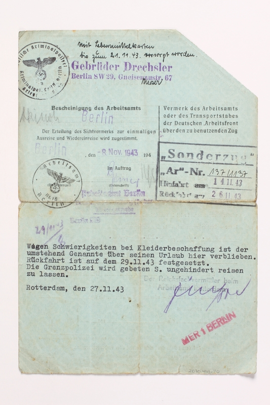 2010.441.70 back Blank sheet of paper for use by a Dutch resistance member to forge identity cards