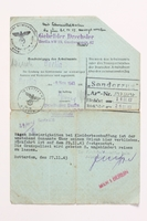 2010.441.70 back Blank sheet of paper for use by a Dutch resistance member to forge identity cards  Click to enlarge