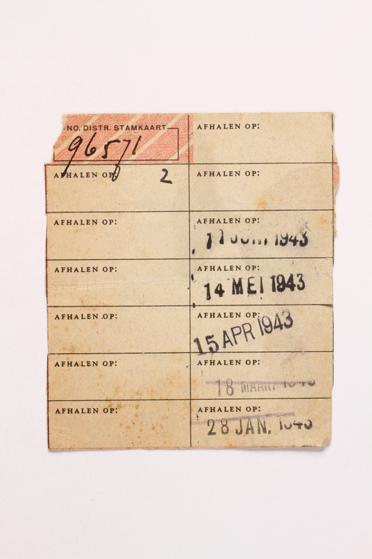 2010.441.71 front Blank sheet of paper for use by a Dutch resistance member to forge identity cards