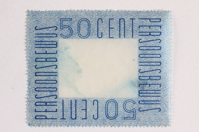 2010.441.78 front Postage stamp for use by a Dutch resistance member to forge identity cards