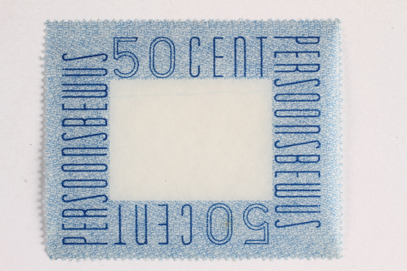 2010.441.79 front Postage stamp for use by a Dutch resistance member to forge identity cards