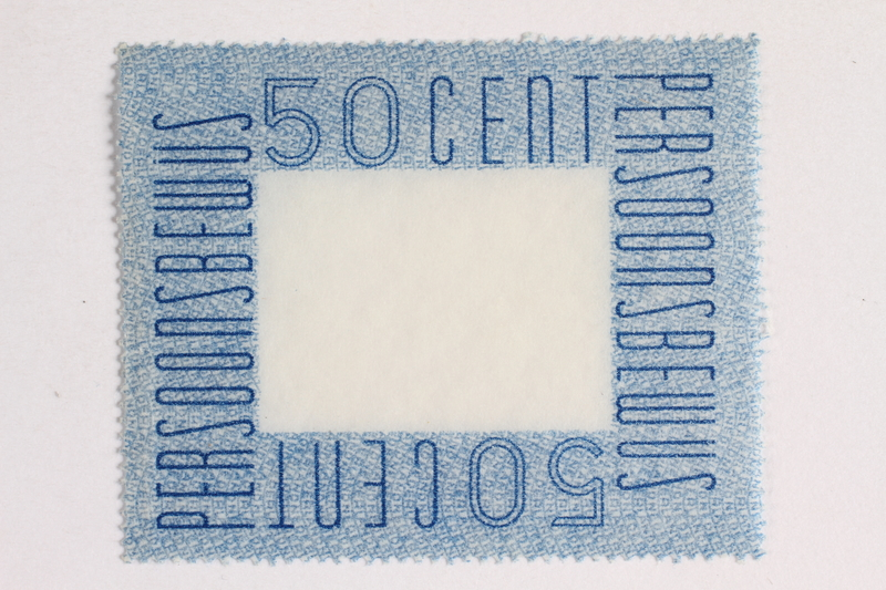 2010.441.80 front Postage stamp for use by a Dutch resistance member to forge identity cards