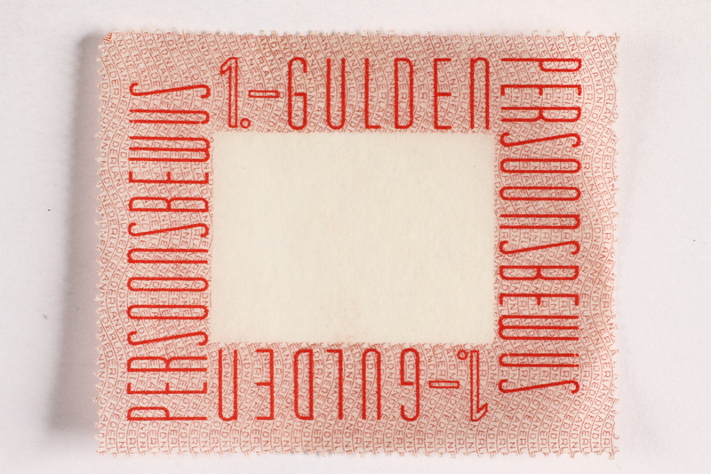 2010.441.81 front Postage stamp for use by a Dutch resistance member to forge identity cards