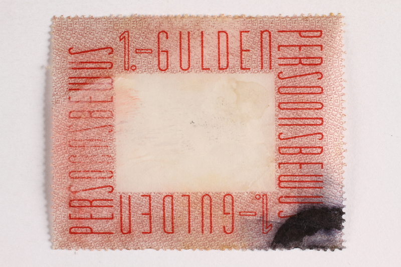 2010.441.83 front Postage stamp for use by a Dutch resistance member to forge identity cards