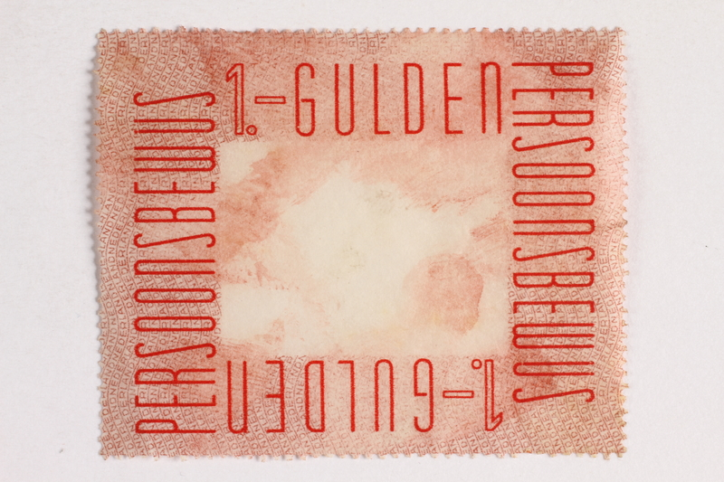 2010.441.84 front Postage stamp for use by a Dutch resistance member to forge identity cards