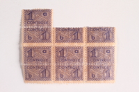 2010.441.91 front Sheet of 10 postage stamps for use by a Dutch resistance member to forge identity cards  Click to enlarge