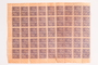 Sheet of 90 postage stamps for use by a Dutch resistance member to forge identity cards