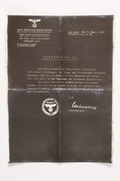 2010.441.93 front Copy of a document used by a Dutch resistance member to forge identity cards  Click to enlarge