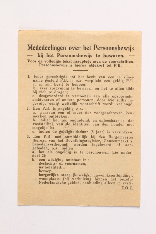 2010.441.94 front Unused sheet of paper for use by a Dutch resistance member to forge identity cards