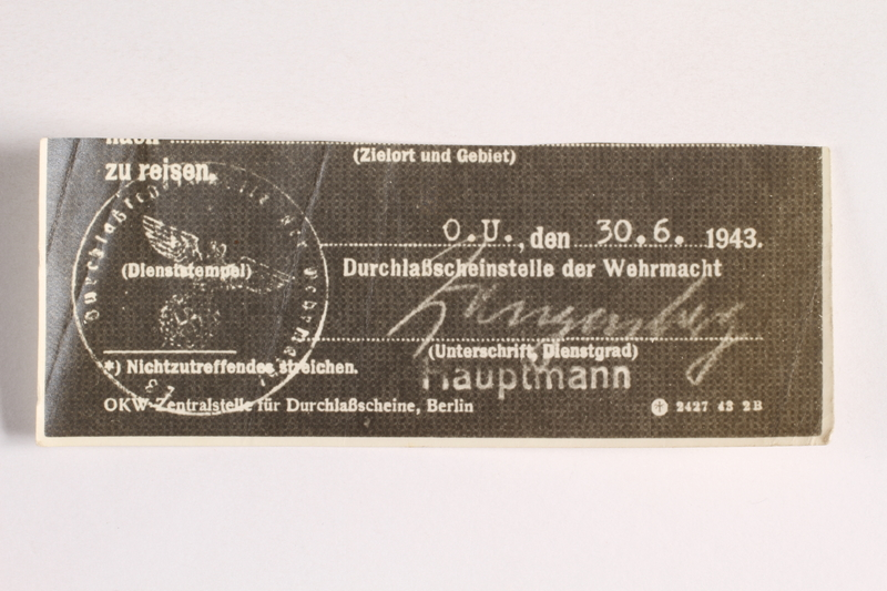 2010.441.97 front Unused sheet of paper for use by a Dutch resistance member to forge identity cards