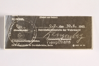 2010.441.97 front Unused sheet of paper for use by a Dutch resistance member to forge identity cards  Click to enlarge