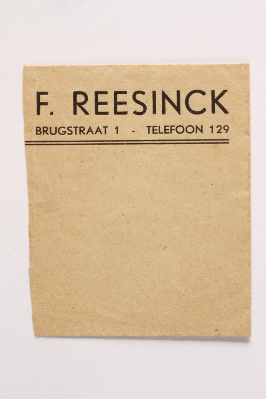 2010.441.102 front Part of an envelope used by a Dutch resistance member who forged identity cards