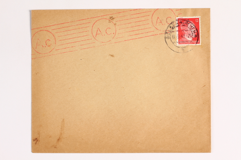 2010.441.104 front Envelope with a cancelled stamp for use by a Dutch resistance member who forged identity cards