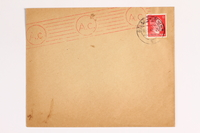 2010.441.104 front Envelope with a cancelled stamp for use by a Dutch resistance member who forged identity cards  Click to enlarge