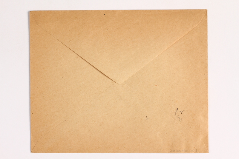 2010.441.104 back Envelope with a cancelled stamp for use by a Dutch resistance member who forged identity cards