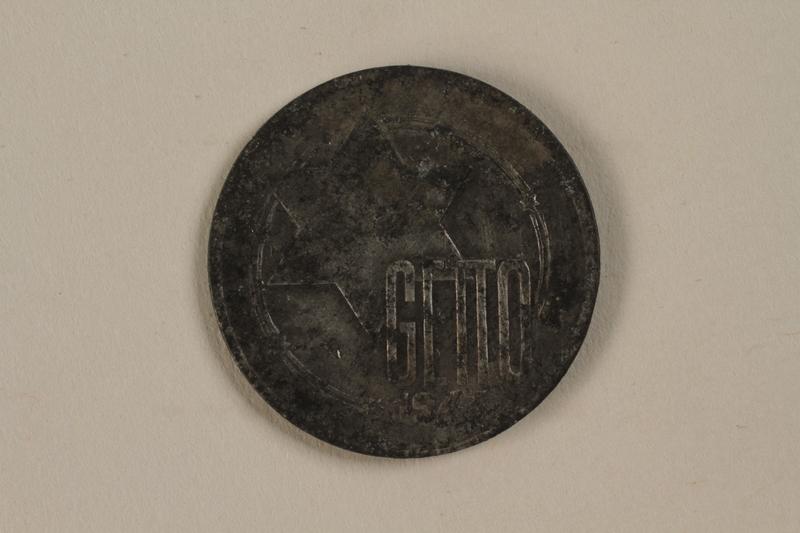 1990.95.1 front Łódź (Litzmannstadt) ghetto scrip, 10 mark coin