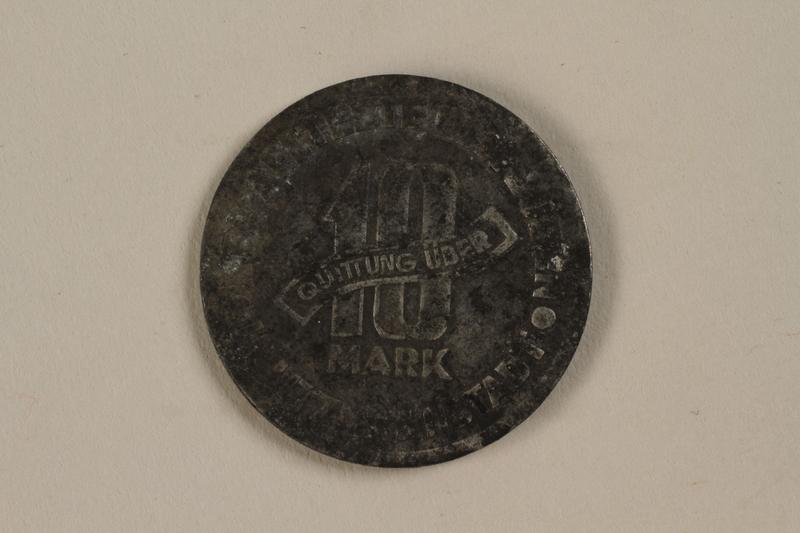 1990.95.1 back Łódź (Litzmannstadt) ghetto scrip, 10 mark coin