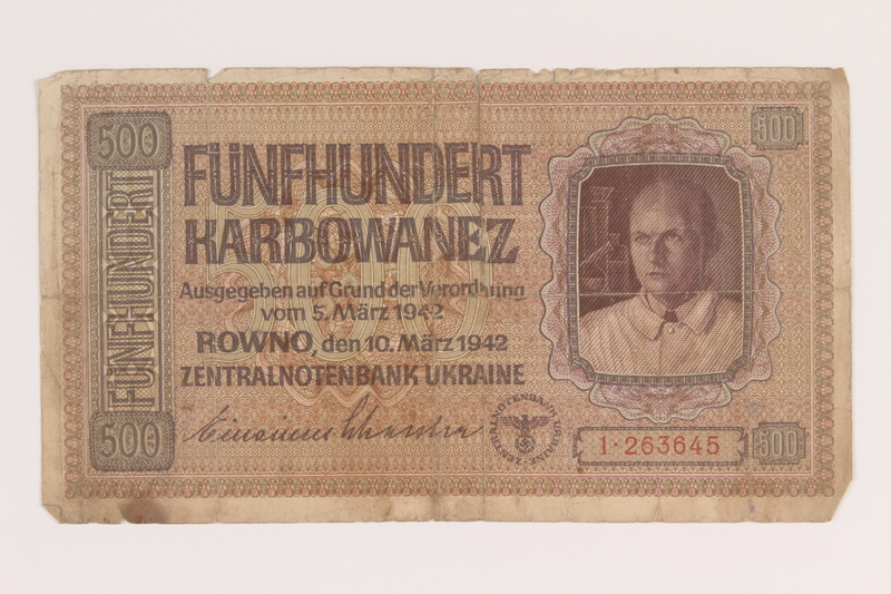 2010.443.3 front Occupation currency note, 500 Karbowanez, issued by Nazi Germany in eastern Poland