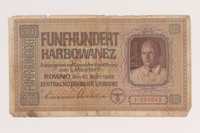 2010.443.3 front Occupation currency note, 500 Karbowanez, issued by Nazi Germany in eastern Poland  Click to enlarge