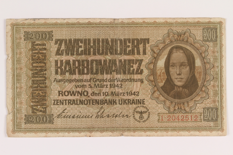 2010.443.4 front Occupation currency note, 200 Karbowanez, issued by Nazi Germany in eastern Poland