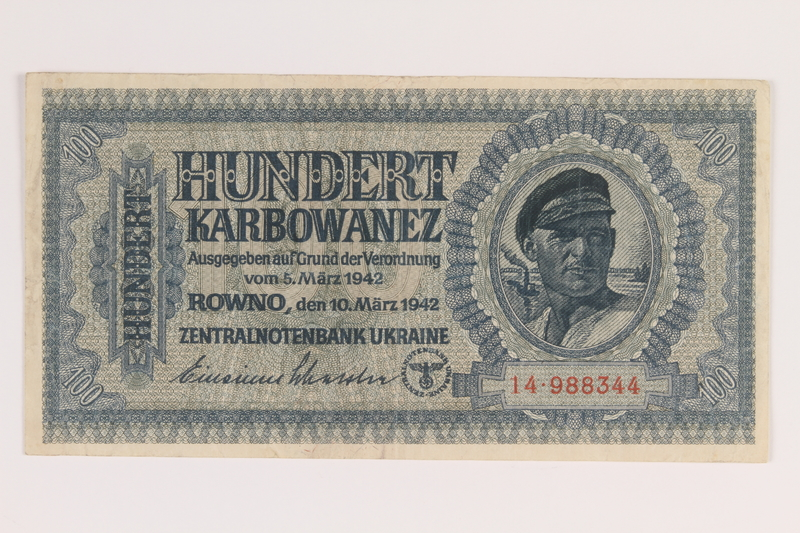 2010.443.5 front Occupation currency note, 100 Karbowanez, issued by Nazi Germany in eastern Poland