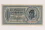 Occupation currency note, 100 Karbowanez, issued by Nazi Germany in eastern Poland