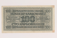 2010.443.5 back Occupation currency note, 100 Karbowanez, issued by Nazi Germany in eastern Poland  Click to enlarge