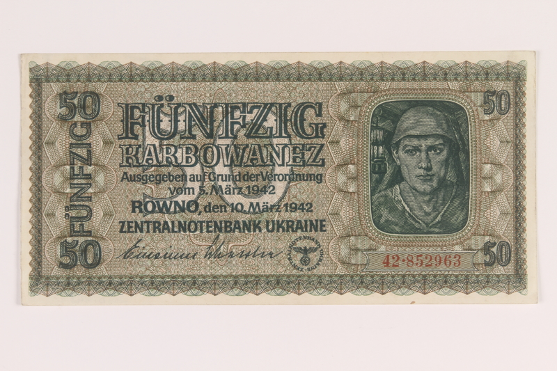 2010.443.6 front Occupation currency note, 50 Karbowanez, issued by Nazi Germany in eastern Poland