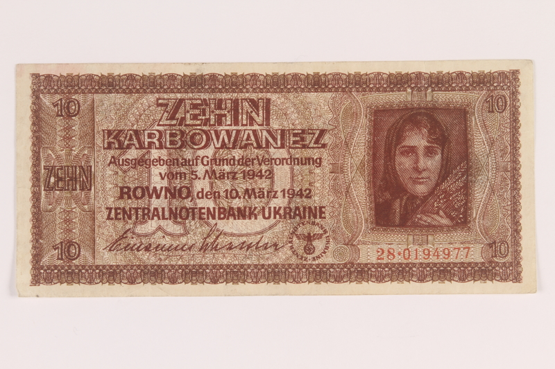 2010.443.7 front Occupation currency note, 10 Karbowanez, issued by Nazi Germany in eastern Poland