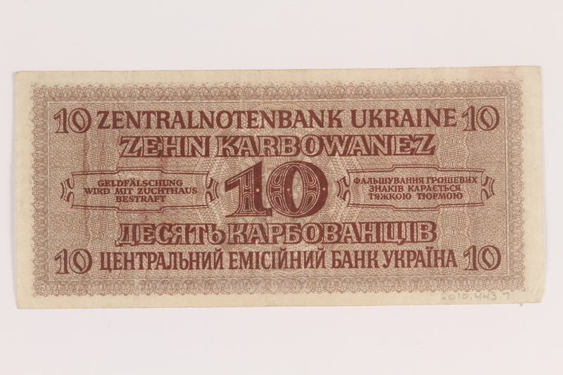 2010.443.7 back Occupation currency note, 10 Karbowanez, issued by Nazi Germany in eastern Poland