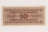 2010.443.7 back Occupation currency note, 10 Karbowanez, issued by Nazi Germany in eastern Poland  Click to enlarge