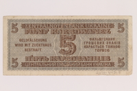 2010.443.8 back Occupation currency note, 5 Karbowanez, issued by Nazi Germany in eastern Poland  Click to enlarge