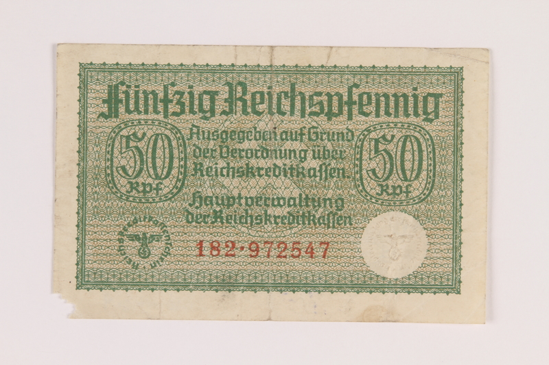 2010.443.9 front Occupation credit treasury note, 50 Reichspfennig, issued by Nazi Germany