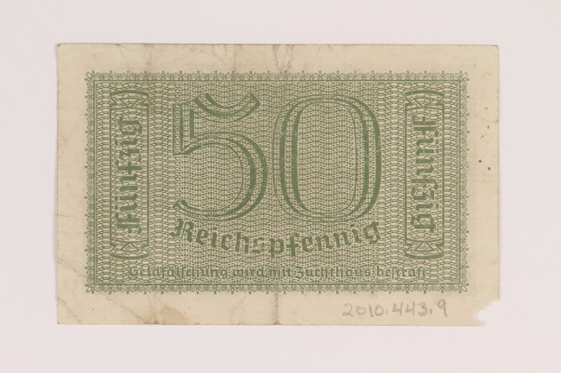 2010.443.9 back Occupation credit treasury note, 50 Reichspfennig, issued by Nazi Germany