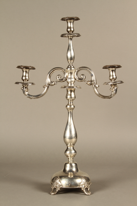 2007.516.2 a-f back Silver engraved candelabrum commemorating the Stolp synagogue saved by Jewish refugees