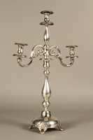 2007.516.2 a-f 3/4 view Silver engraved candelabrum commemorating the Stolp synagogue saved by Jewish refugees  Click to enlarge