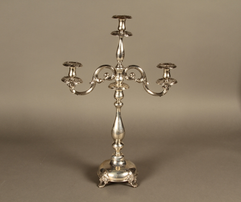 2007.516.3 a-f front Silver engraved candelabrum commemorating the Stolp synagogue saved by refugees from Nazi Germany