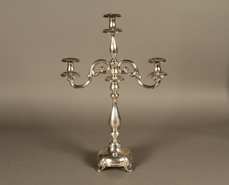 2007.516.3 a-f back Silver engraved candelabrum commemorating the Stolp synagogue saved by refugees from Nazi Germany