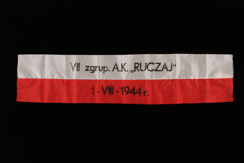 2010.459.2 front Polish Home Army commemorative armband issued to veteran of Warsaw Insurrection