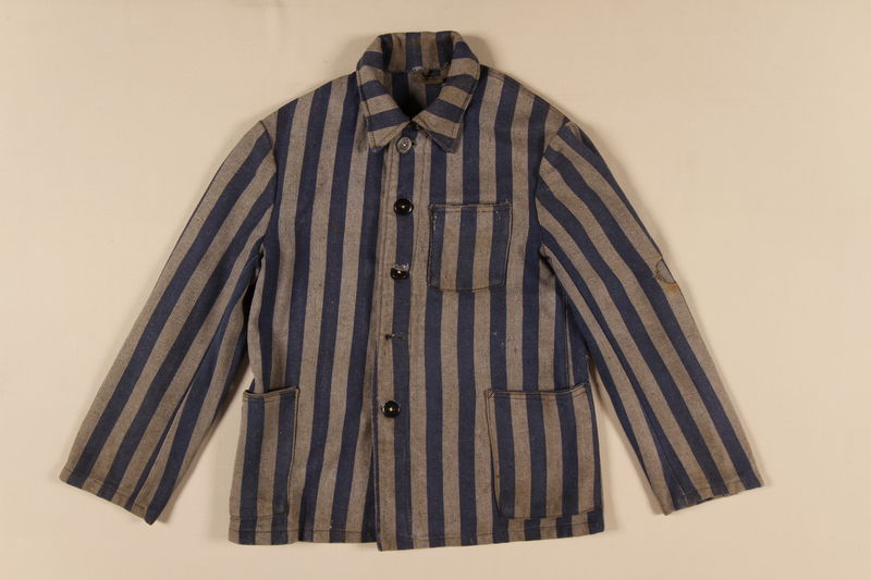 1991.112.1 front Concentration camp uniform jacket worn by a Polish Jewish inmate