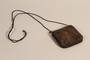 Brown leather burse and sheet of prayers used by US Army chaplain