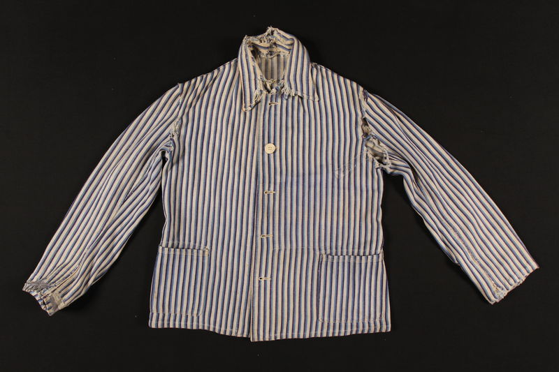 2010.471.1_a front Concentration camp striped uniform jacket and pants worn by Romanian Jewish female inmate
