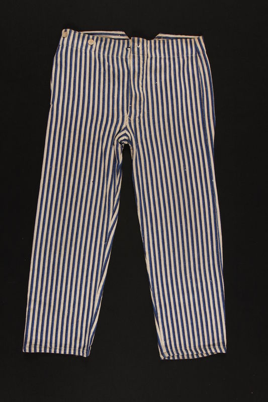 2010.471.1_b front Concentration camp striped uniform jacket and pants worn by Romanian Jewish female inmate