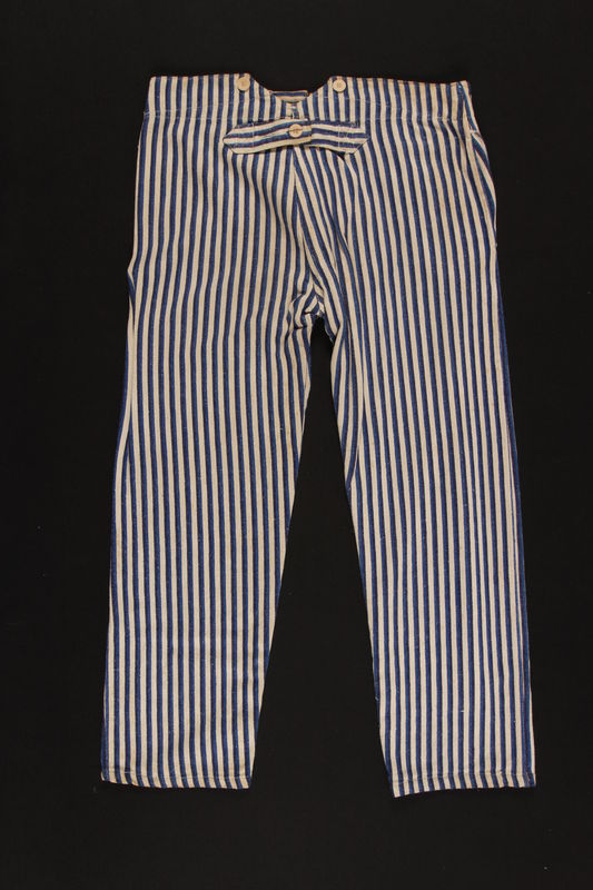 2010.471.1_b back Concentration camp striped uniform jacket and pants worn by Romanian Jewish female inmate
