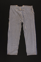 2010.471.1_b back Concentration camp striped uniform jacket and pants worn by Romanian Jewish female inmate  Click to enlarge