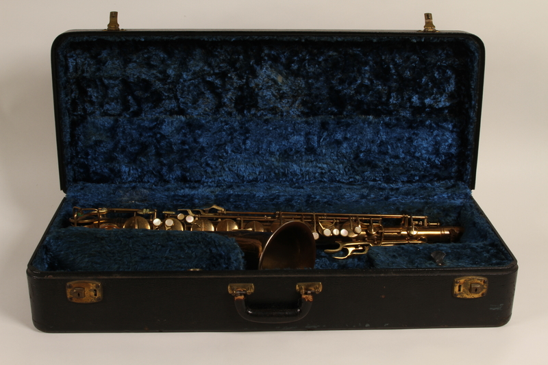 2010.472.3_b open Saxophone, case and accessories used by a Polish Jewish musician in a band that toured DP camps
