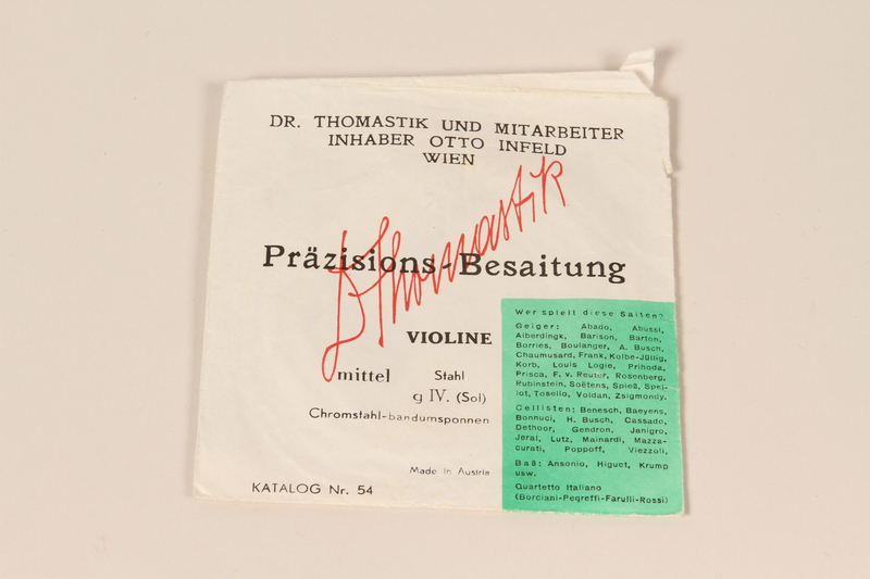 2010.472.2 k closed Violin, bows, case and accessories recovered from Łódź ghetto and played in DP camps by a Polish Jewish musician