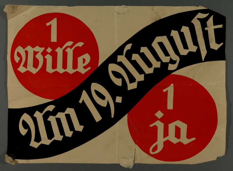 2010.485.4 front Poster of a yes ballot for Hitler's election acquired by an American tourist